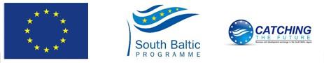 Obrazek przedstawiający logo Unii Europejskiej, Programu Południowy Bałtyk oraz Projektu Catching the Future