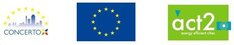 Obrazek przedstawiający logo Programu Concerto, logo Unii Europejskiej oraz projektu Concerto Act2