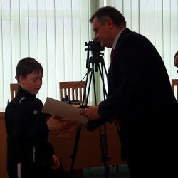 Oficjalne wręczenie zestawów komputerowych beneficjentom przez Prezydenta Piotra Jedlińskiego