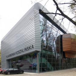 Nowo powstały obiekt Filharmonii Koszalińskiej zlokalizowany w pobliżu Parku Książąt Pomorskich