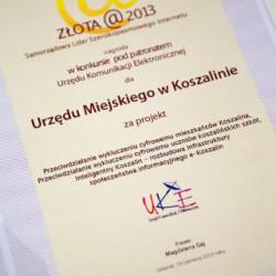 Nagroda za realizacje projektu przyznana przez Urząd Komunikacji Elektronicznej w kategorii Samorządowy Lider Szerokopasmowego Internetu - Złota @2013
