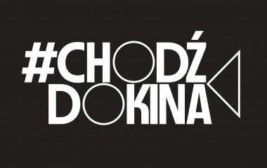zdjęcie przedtawia logo akcji. Biały napis Chodz do kina na czarnym tle