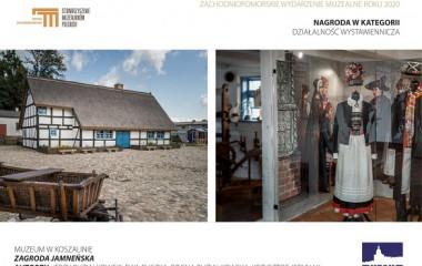 Zdjęcie przedstawia dwie fotografie. Budynek Zagrody jamneńskiej oraz stroje kultury jamneńskiej