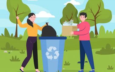 Ludzie wrzucający śmieci do kosza