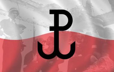 Flaga polski ze znakiem Polski Walczącej