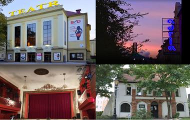 Na zdjęciu znajdują się budynki teatrów w Koszalinie: Bałtycki Teatr Dramatyczny w Koszalinie, Teatr Dialog, Teatr Adria oraz Teatr Muza