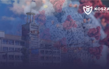 Na zdjęciu Urząd Miejski w Koszalinie, w tle koronawirus. Zdjęcie z logo Koszalin Centrum Pomorza