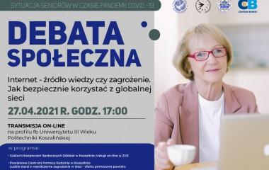 Plakat dotyczący debaty przedstawiający starszą Panią siedzącą przed laptopem