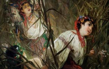 Obraz prezentujący dwie kobiety na łące